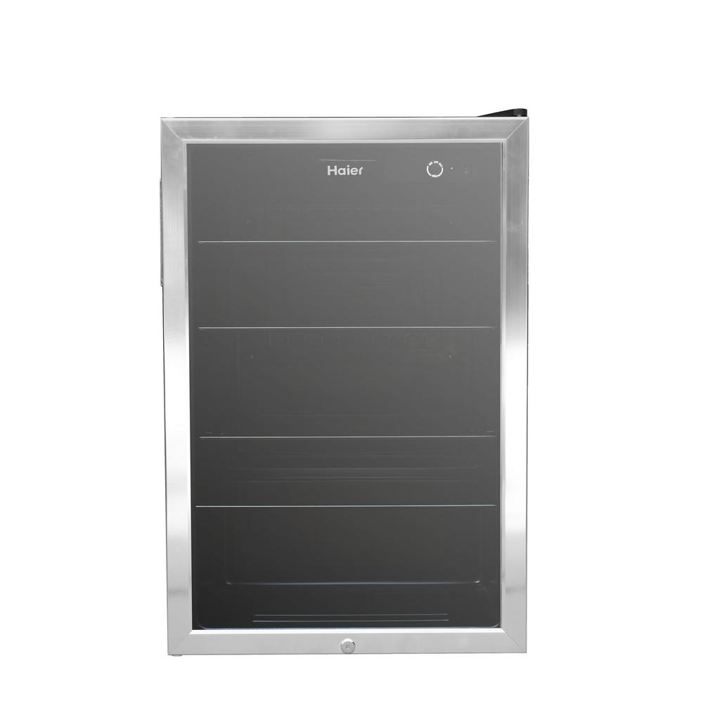 Haier 20.5 in. 150-Can Beverage Center in Stainless Steel on