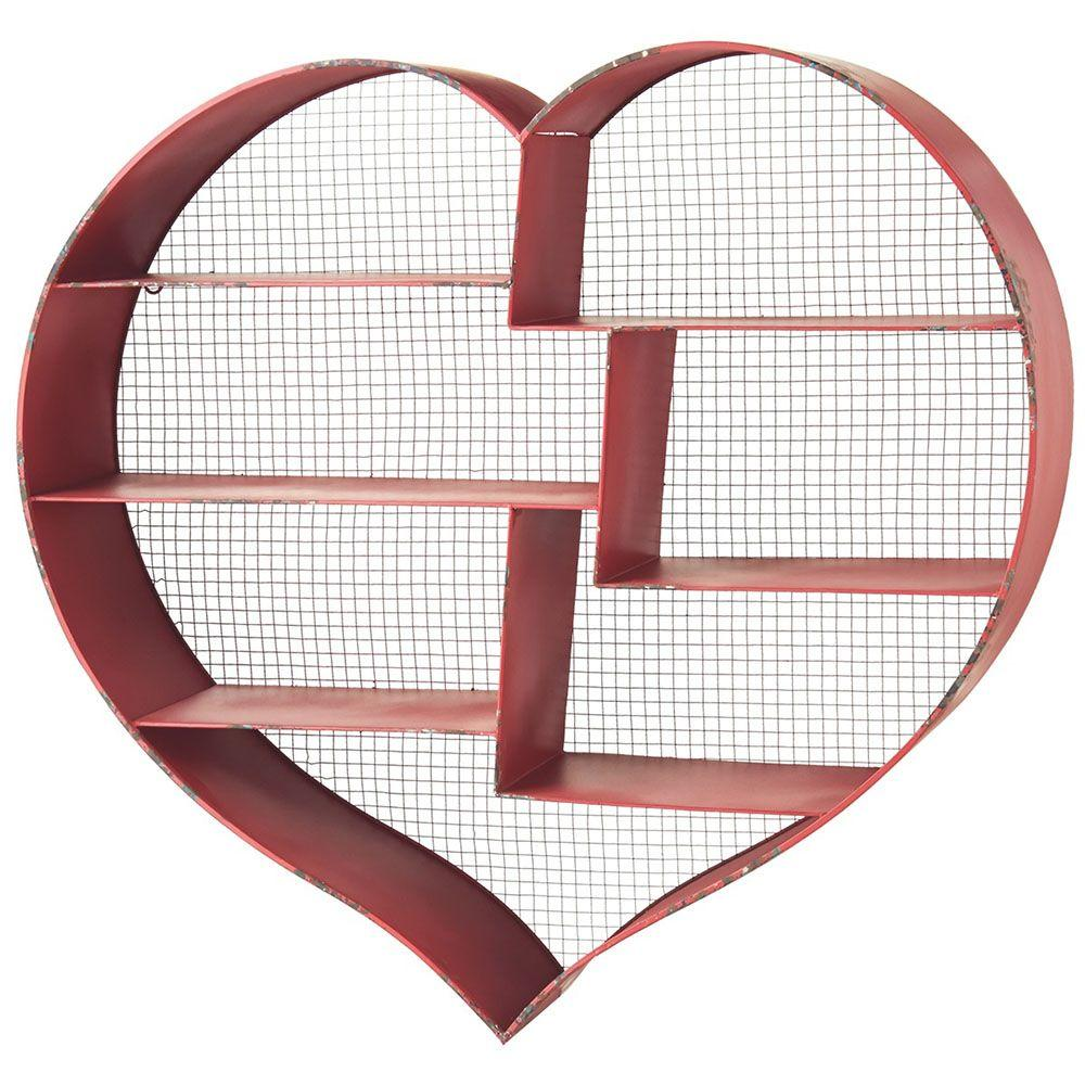 Filament Design Sundry 6-Tier Metal Heart Wall Shelf in Distressed Red