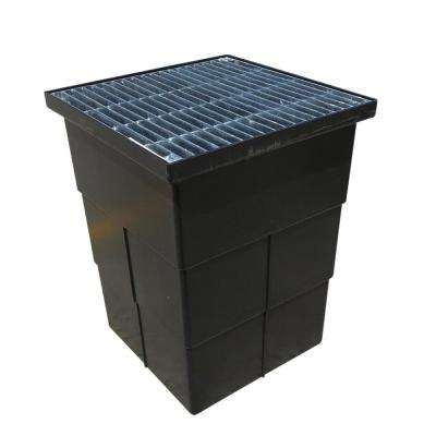18 in. Storm Water Pit and Catch Basin for Modular Trench and Channel Drain Systems with Galvanized Steel Grate