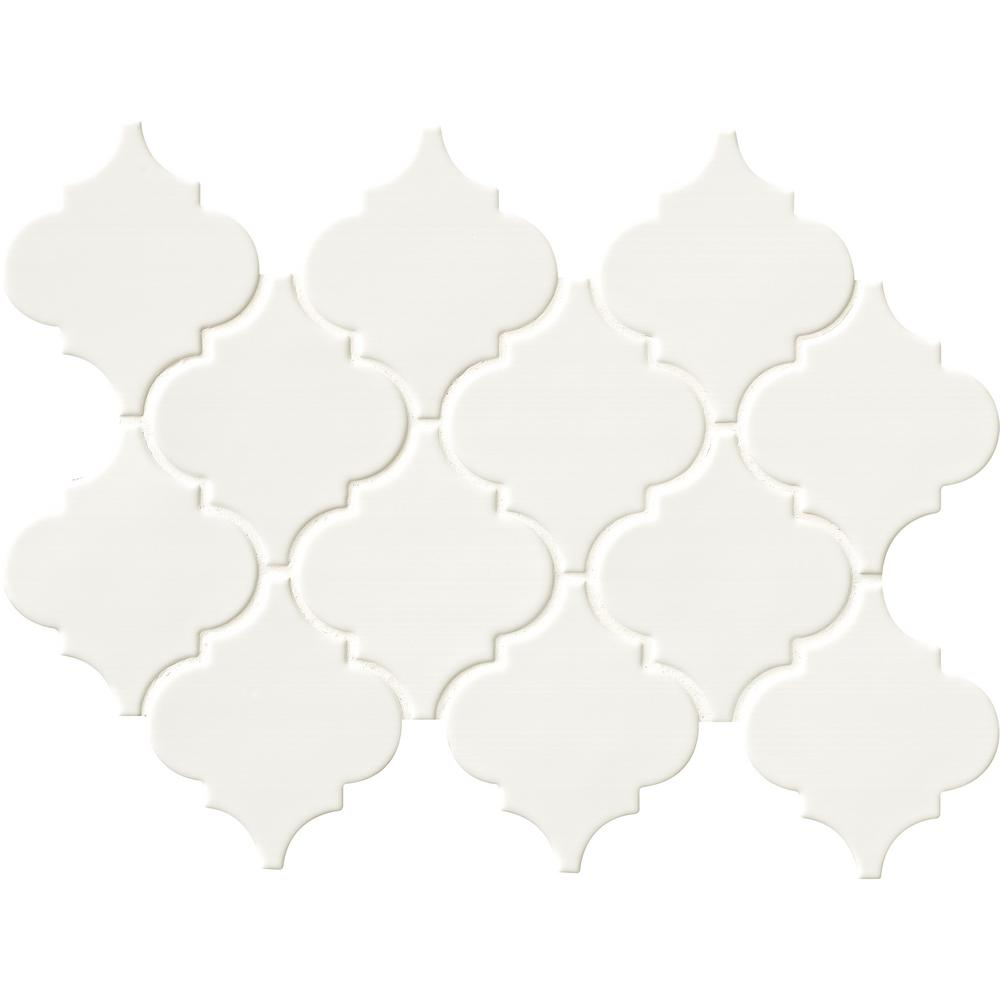 MSI Whisper White Arabesque 10-1/2 in. x 15-1/2 in. x 8 mm Glazed Ceramic Mesh-Mounted Mosaic Wall Tile (11.7 sq. ft. /case)