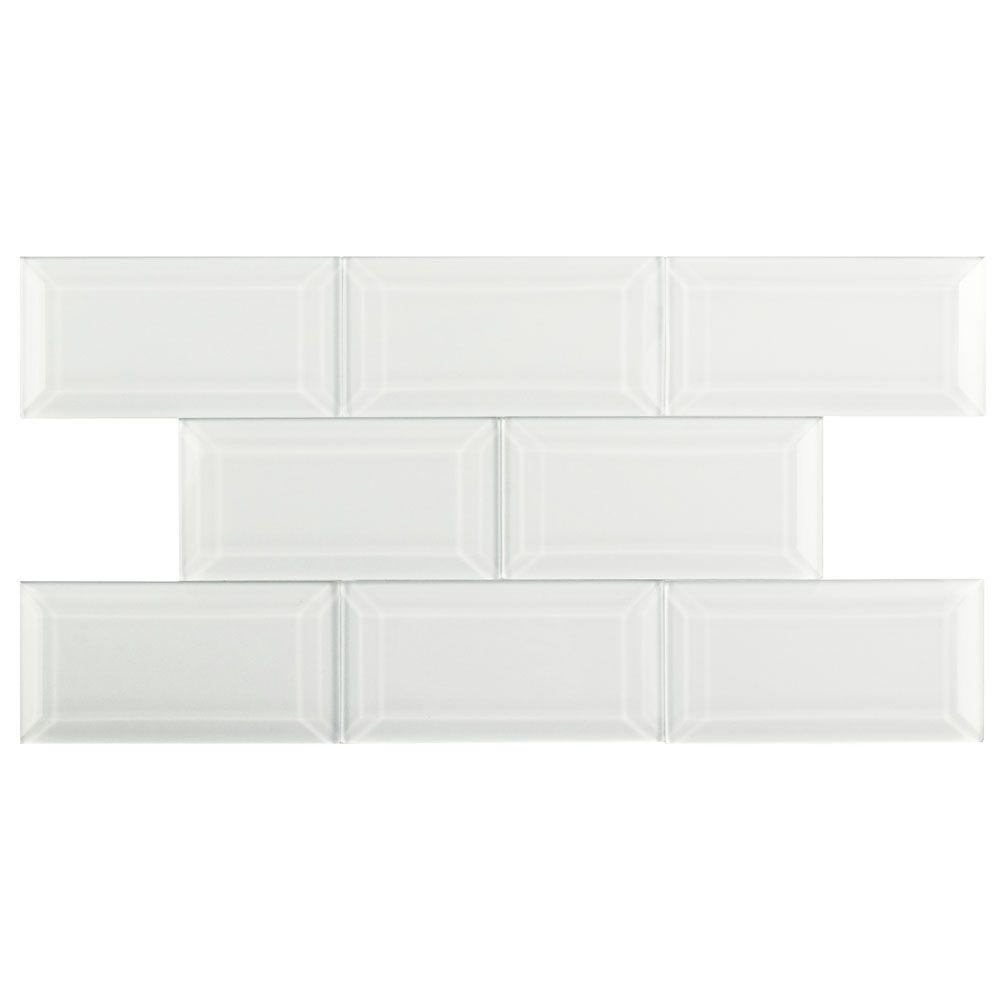 Merola Tile Tessera Beveled Ice White 3 In X 6 Gl Wall 1 Sq Ft Pack Wsdtsbiw The Home Depot
