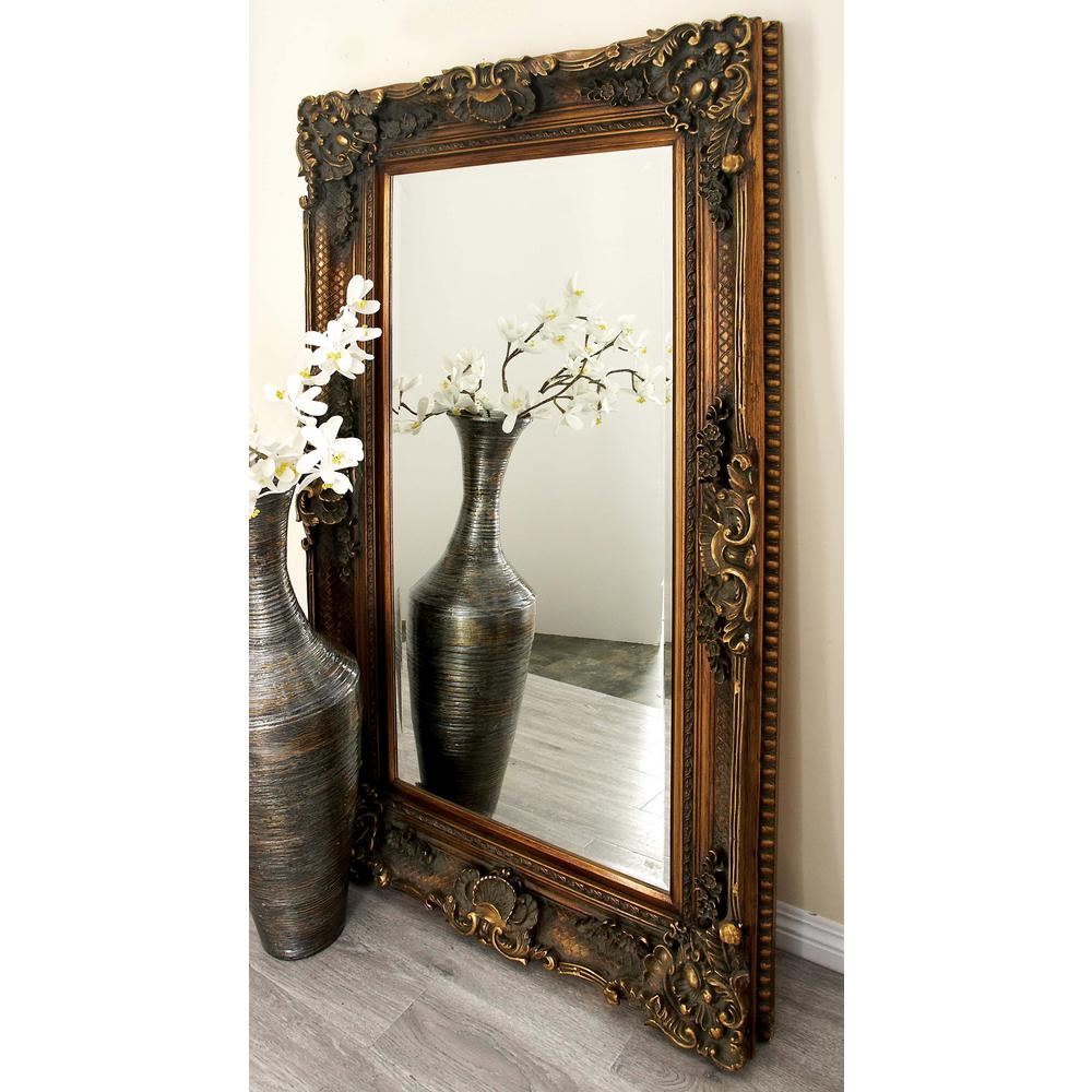 69 in x 30 in new traditional leather framed wall mirror 66860 flourish and scroll framed wall mirror amipublicfo Gallery