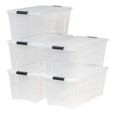 83 Qt. Stack and Pull Storage Tote in Clear (5-Pack)