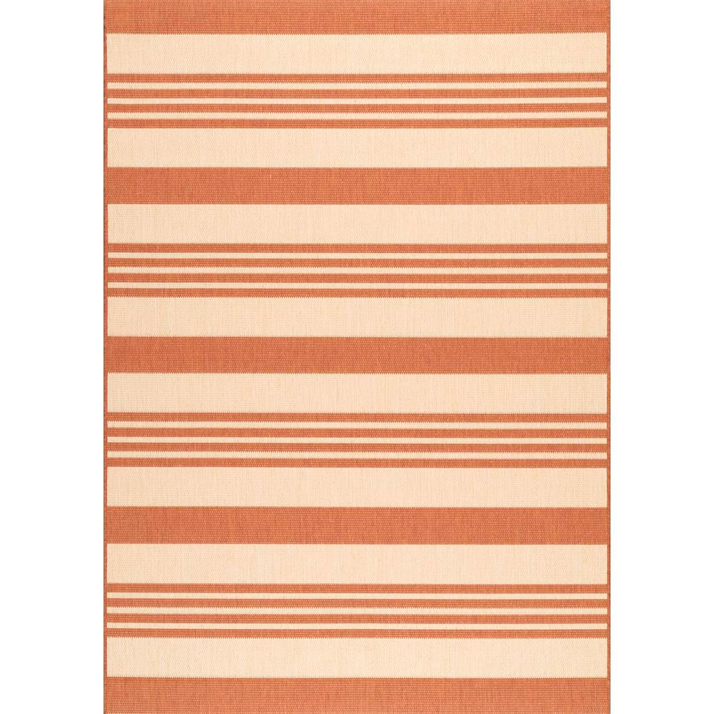 nuLOOM Robin Striped Coastal Terracotta 8 x 11 Indoor/Outdoor Area Rug