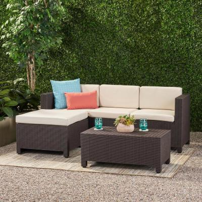 Kailani Dark Brown 5-Piece Plastic Patio Conversation Seating Set with Beige Cushions