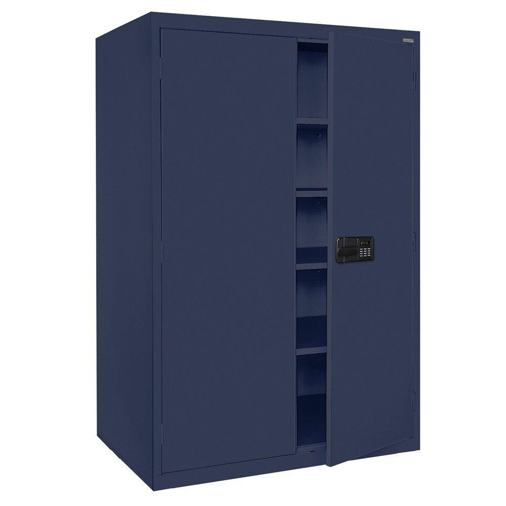 Elite Series 78 in. H x 46 in. W x 24 in. D 5-Shelf Steel Keyless Electronic Handle Storage Cabinet in Navy Blue