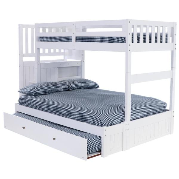 Casual White Collection White Twin OverFull Staircase Bunk Bed with 4-Drawer Chest and Twin Sized Underbed Trundle
