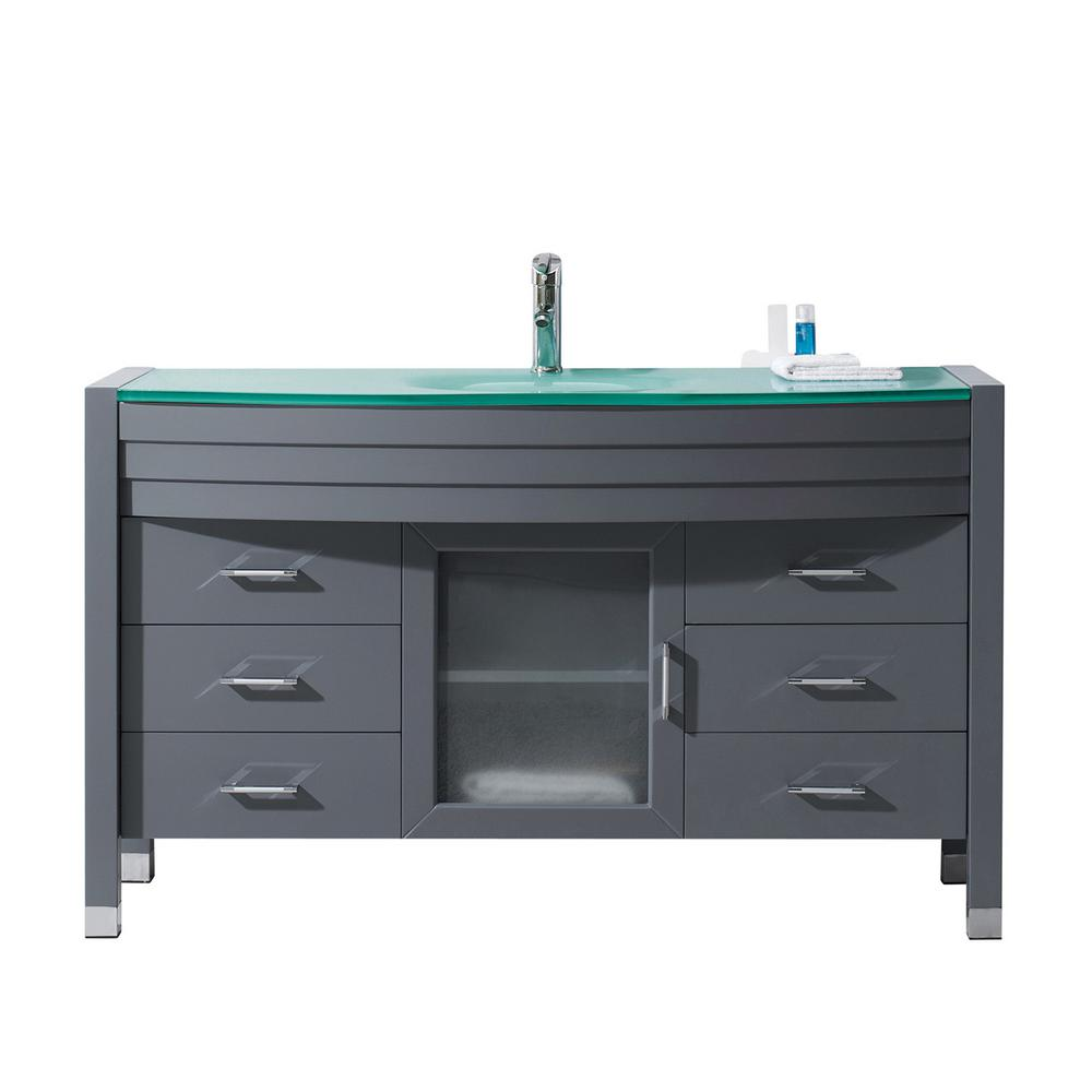 Virtu USA Ava 55 in. W Bath Vanity in Gray with Glass Vanity Top in Aqua Tempered Glass with Round Basin and Faucet
