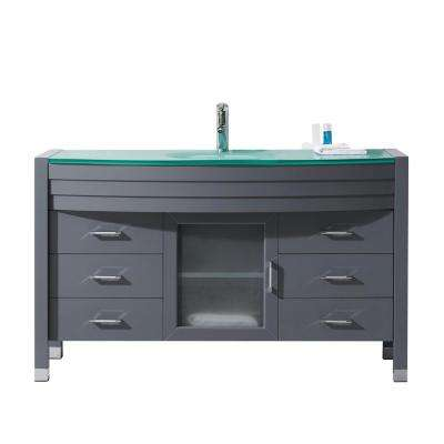 Ava 55 in. W Bath Vanity in Gray with Glass Vanity Top in Aqua Tempered Glass with Round Basin and Faucet
