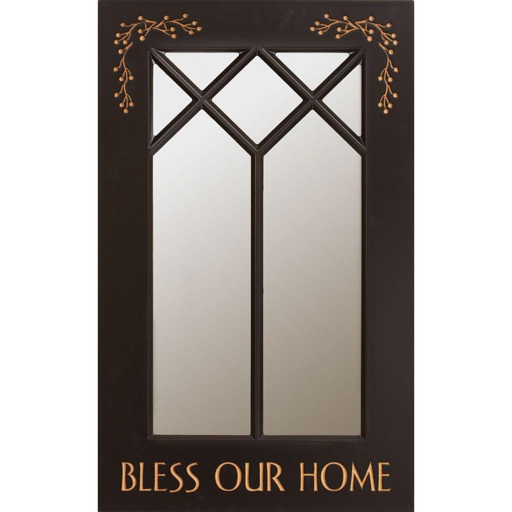 P. Graham Dunn 19 in. x 31.5 in. Bless Our Home Black Carved Wood Framed Mirror