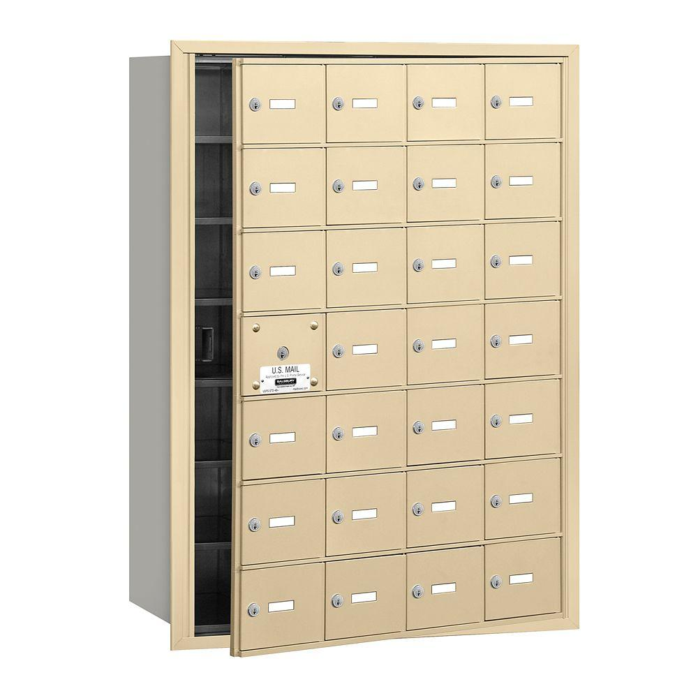 Salsbury Industries Sandstone USPS Access Front Loading 4B Plus Horizontal Mailbox with 28A Doors (27 Usable)
