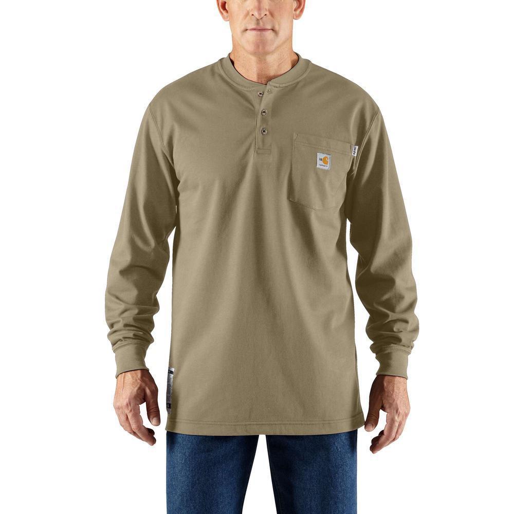 Men's Regular Medium Khaki FR Force Cotton Long Sleeve Henley