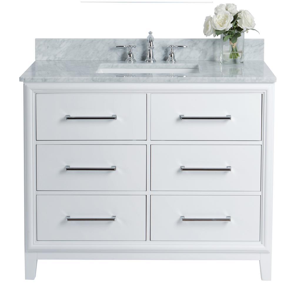 Ellie 42 in. W x 22 in. D Vanity in White with Marble Vanity Top in White with White Basin