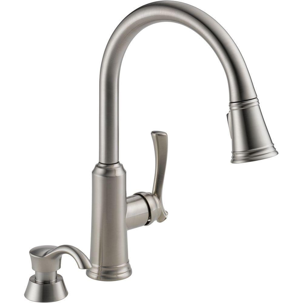 Delta Lakeview Single Handle Pull Down Sprayer Kitchen Faucet With
