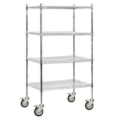 36 in. W x 80 in. H x 24 in. D Industrial Grade Welded Wire Mobile Wire Shelving in Chrome