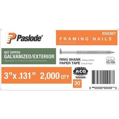 3 in. x 0.131-Gauge 30 Galvanized Ring Shank Paper Tape Framing Nails (2000 per Box)