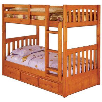 Honey Solid Pine Twin over Twin Bunkbed with 3-Drawer Underbed Storage