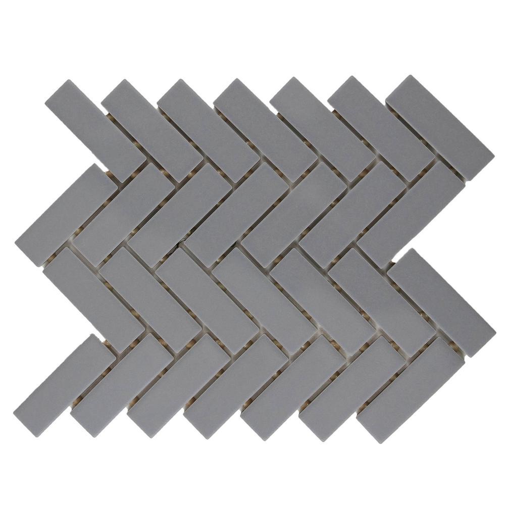 Restore Matte Dove Gray Herringbone 9 in. x 12 in. x 6mm Glazed Ceramic Mosaic Tile (0.60 sq. ft.)
