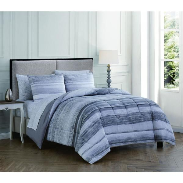 Addison House Laken 5-Piece Gray Twin Bed in a Bag LAK5BBTWINGHGY