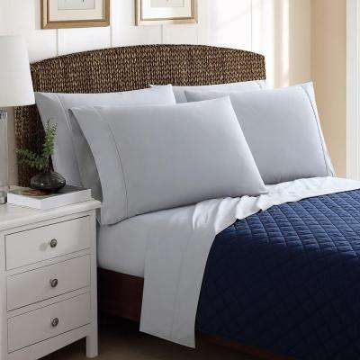 6-Piece Solid Grey King Sheet Sets