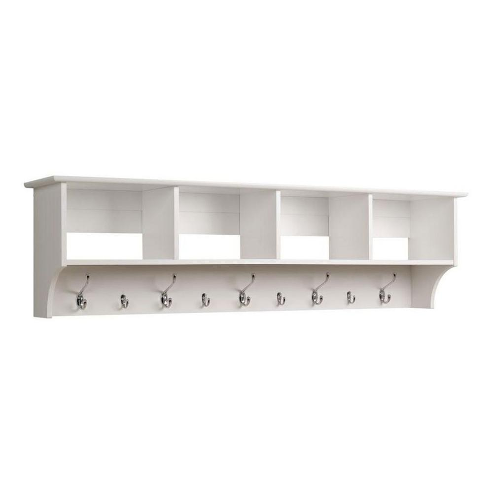 Prepac 60 In Wall Mounted Coat Rack In White Wec 6016 The Home Depot
