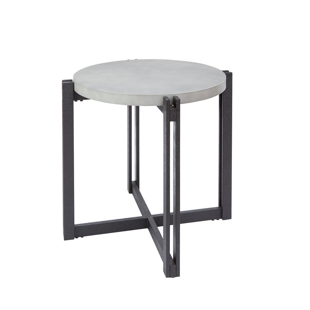 Dakota Gray Round Concrete Top End Table