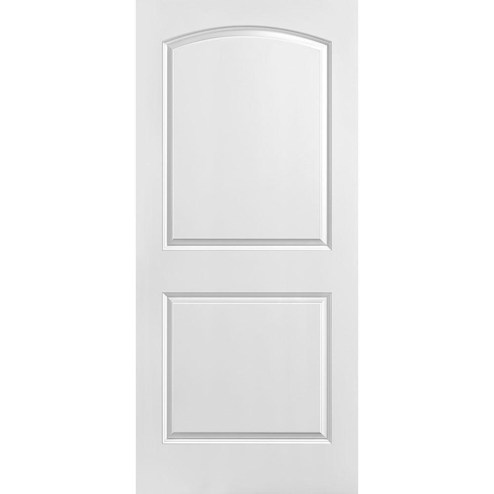 36 in. x 80 in. Solidoor Roman Smooth 2-Panel Round Top Solid Core Primed Composite Interior Door Slab