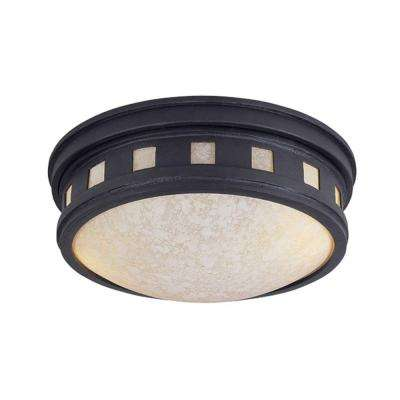 Mesa Collection 2-Light Oil Rubbed Bronze Outdoor Ceiling Flushmount