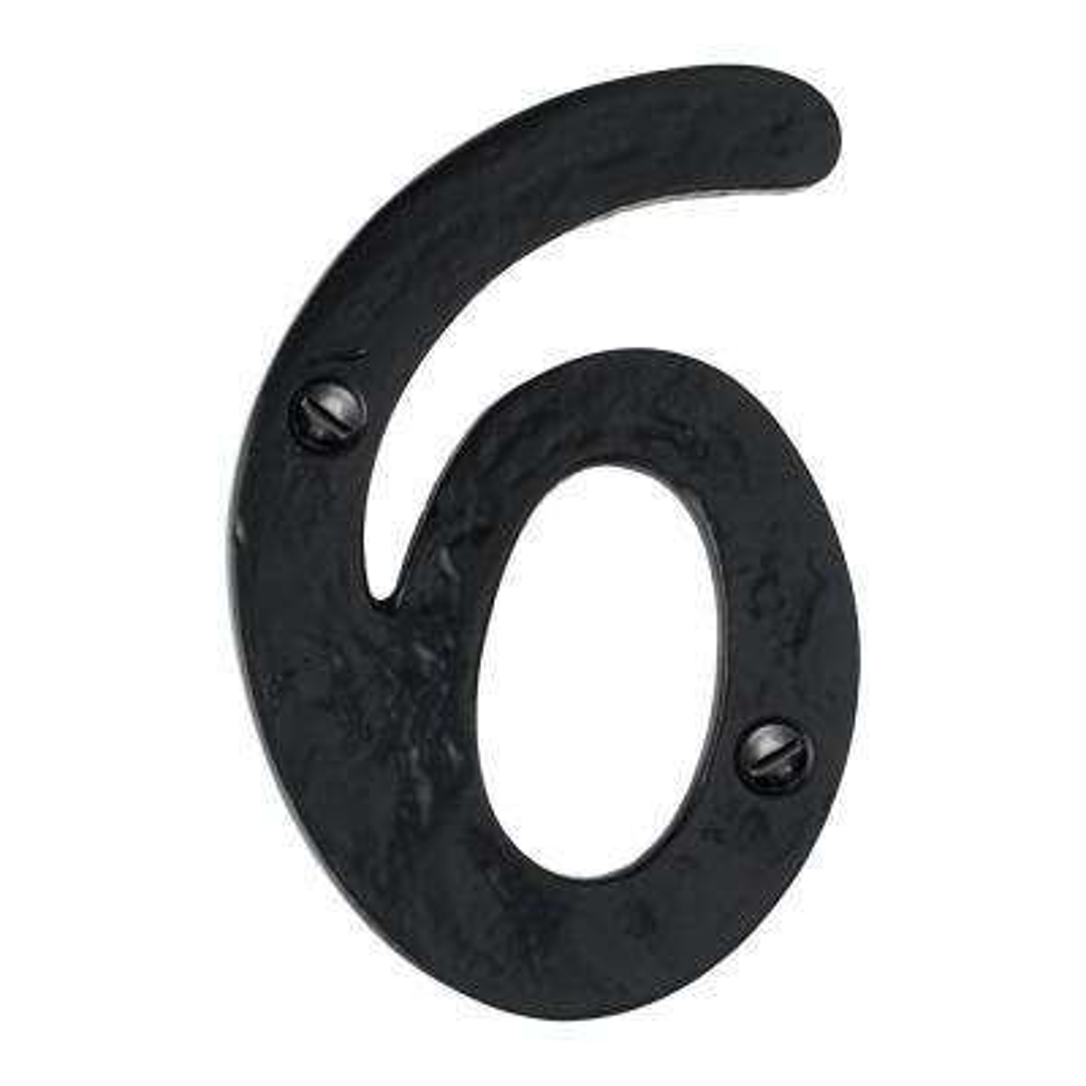 Hammered 4 in. Black House Number 6