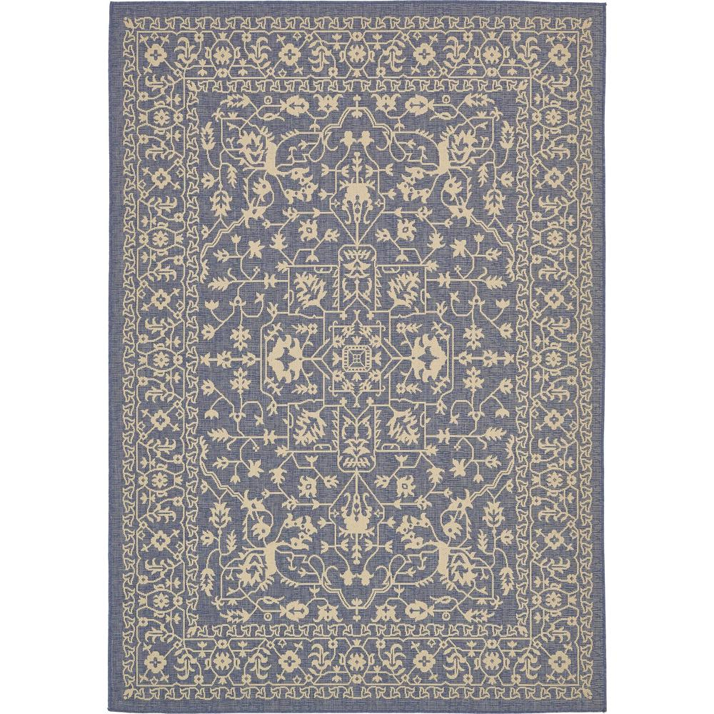 Outdoor Rug 7 X 10: Unique Loom Outdoor Botanical Blue 7' X 10' Rug-3135506