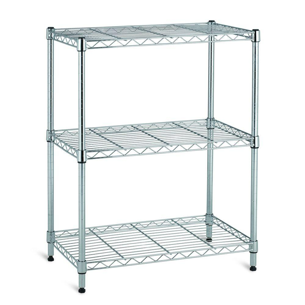 3 shelf 30 in h x 24 in w x 14 in d wire unit in chrome. Black Bedroom Furniture Sets. Home Design Ideas