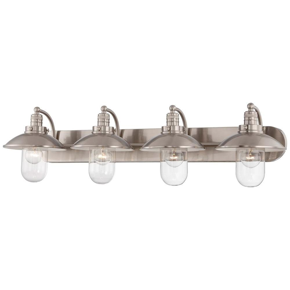 Minka Lavery Downtown Edison Light Brushed Nickel Bath Light - Brushed nickel bathroom ceiling light fixtures