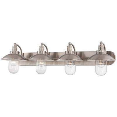 Downtown Edison 4-Light Brushed Nickel Bath Light