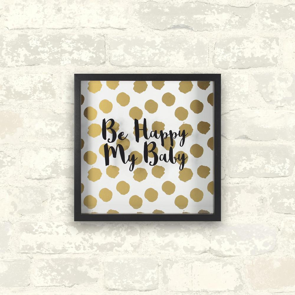 10 in. x 10 in. Happy Baby -Gold 1-Piece Shadowbox with