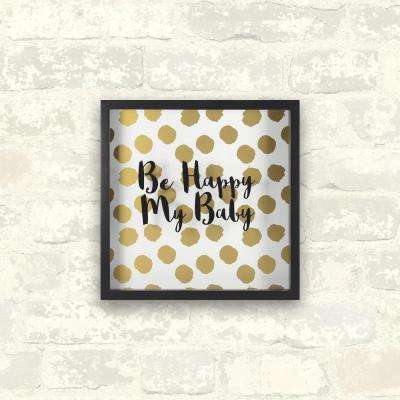 10 in. x 10 in. Happy Baby -Gold 1-Piece Shadowbox with Metallic Screenprint