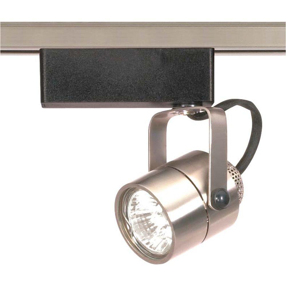 modern track lighting 1light mr16 12volt brushed nickel round track lighting head midcentury modern the home depot
