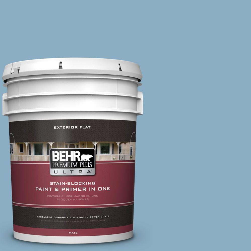 BEHR Premium Plus Ultra 5-gal. #S500-4 Chilly Blue Flat Exterior Paint