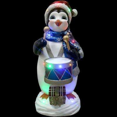3 ft. Christmas Penguin Playing the Drum with Long-Lasting LED Lights