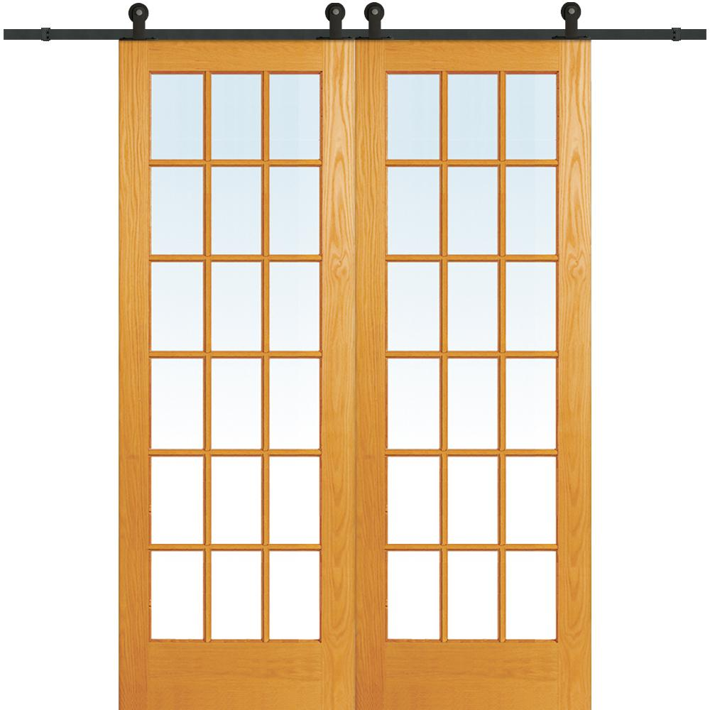 MMI Door 72 in. x 96 in. Clear True Divided 18-Lite Unfinished Pine Double Sliding Barn Door with Wood Hardware Kit