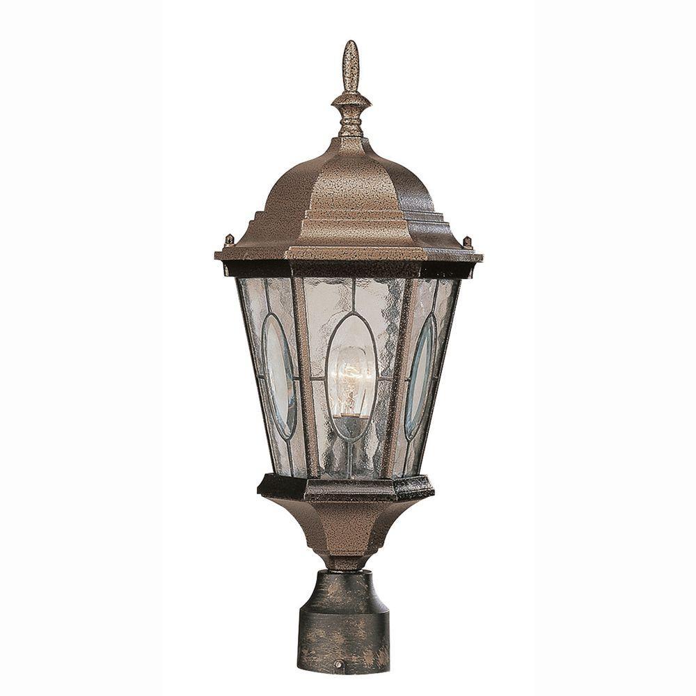 Bel Air Lighting Cameo 1-Light Outdoor Black Bronze Post Top Lantern with Water glass