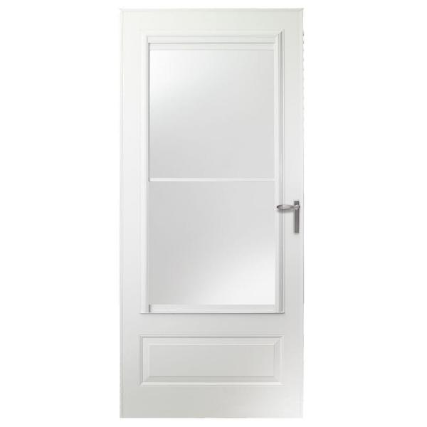 32 in. x 80 in. 300 Series White Universal Self-Storing Aluminum Storm Door with Nickel Hardware