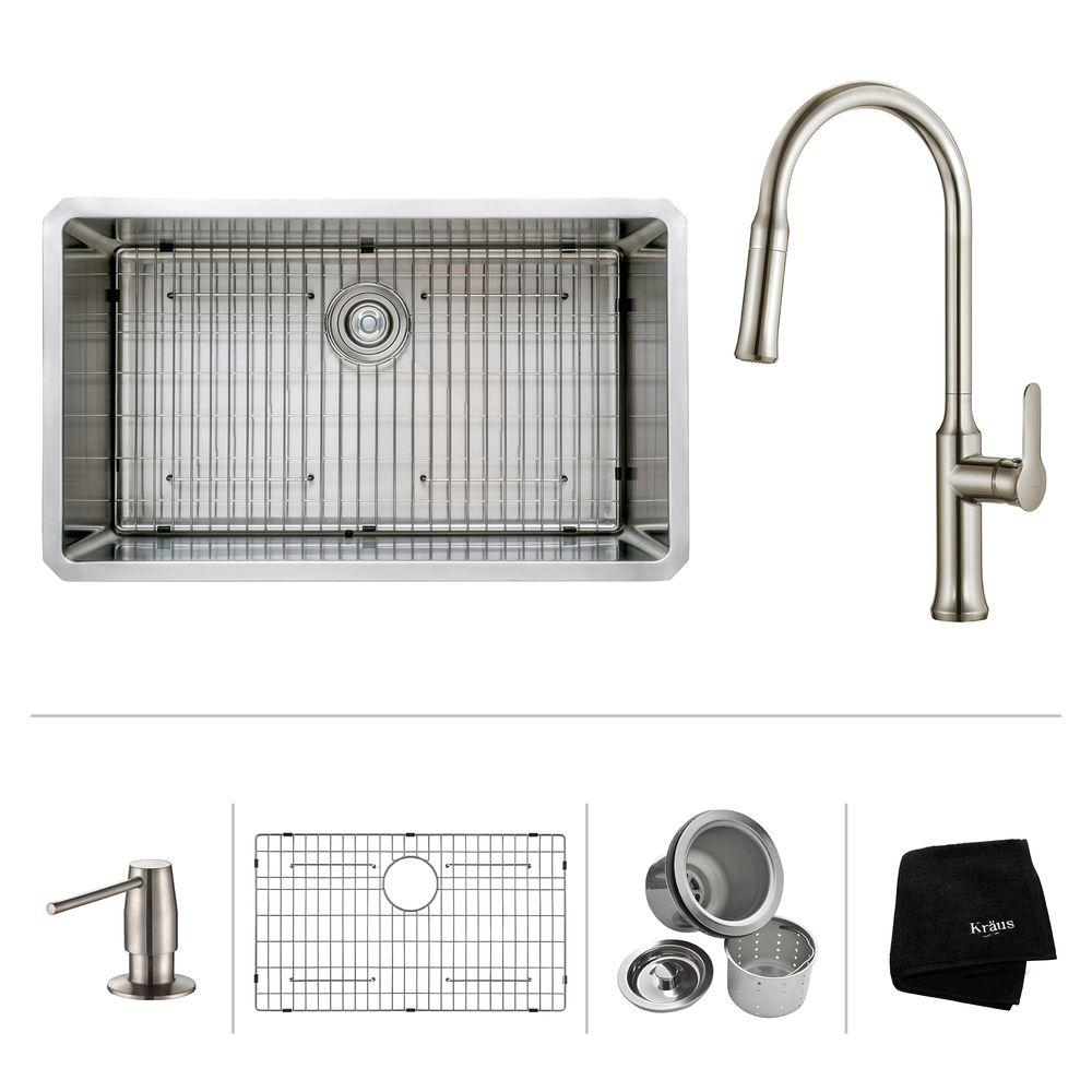 All-in-One Undermount Stainless Steel 32 in. Single Bowl Kitchen Sink with