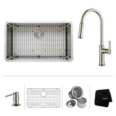 All-in-One Undermount Stainless Steel 32 in. Single Bowl Kitchen Sink with Faucet and Accessories in Stainless Steel