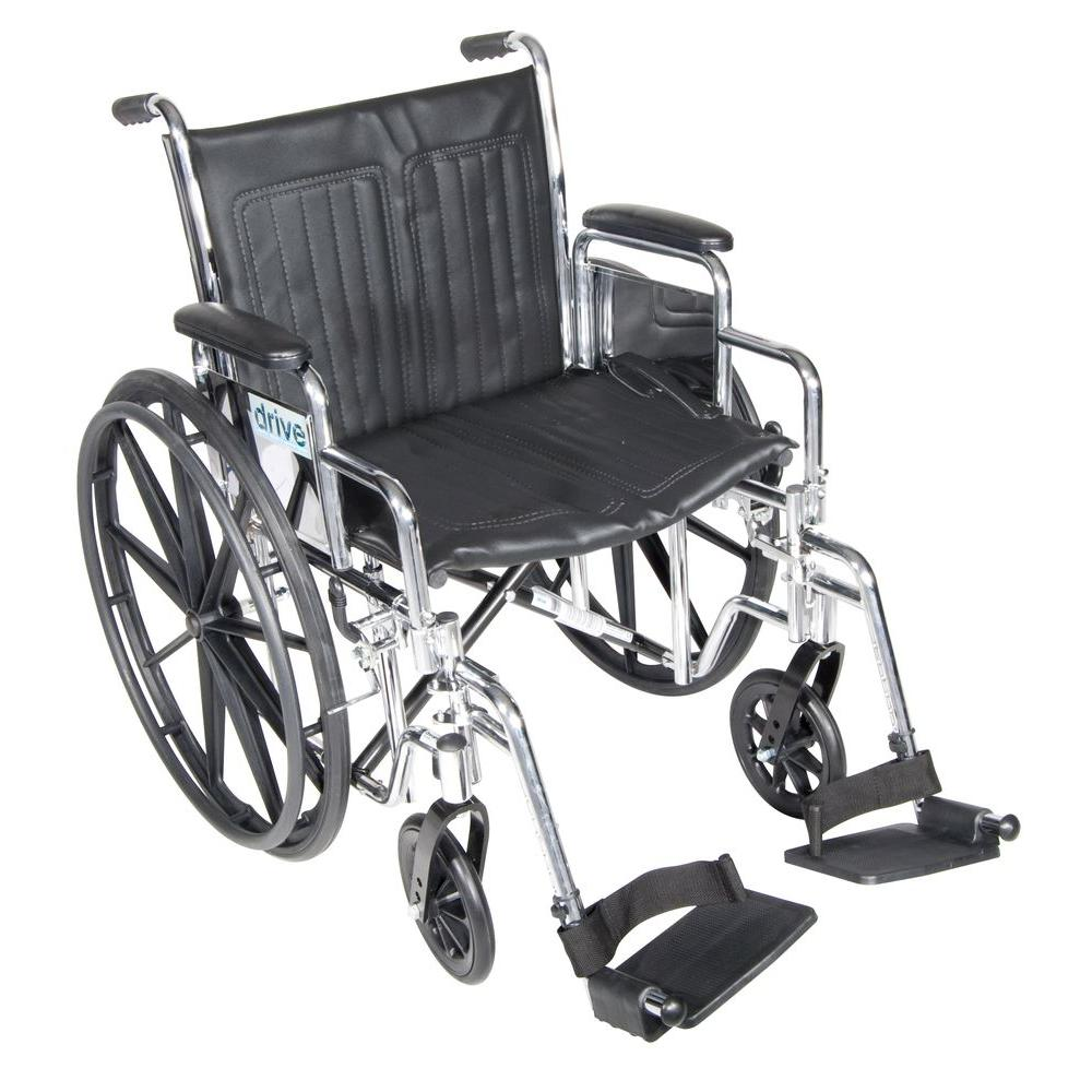 Drive Chrome Sport Wheelchair with Detachable Desk Arms and Swing Away Footrest
