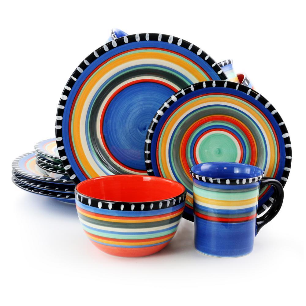 Pueblo Springs Spanish Festival Durastone 16-Piece Blue Dinnerware Set