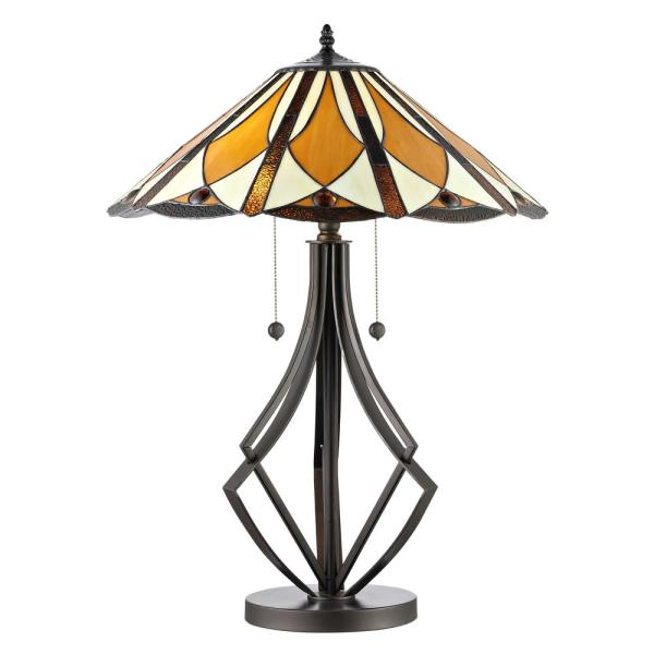Diamond Flare 28 in. Bronze Table Lamp with Hand Rolled Art Glass Shade