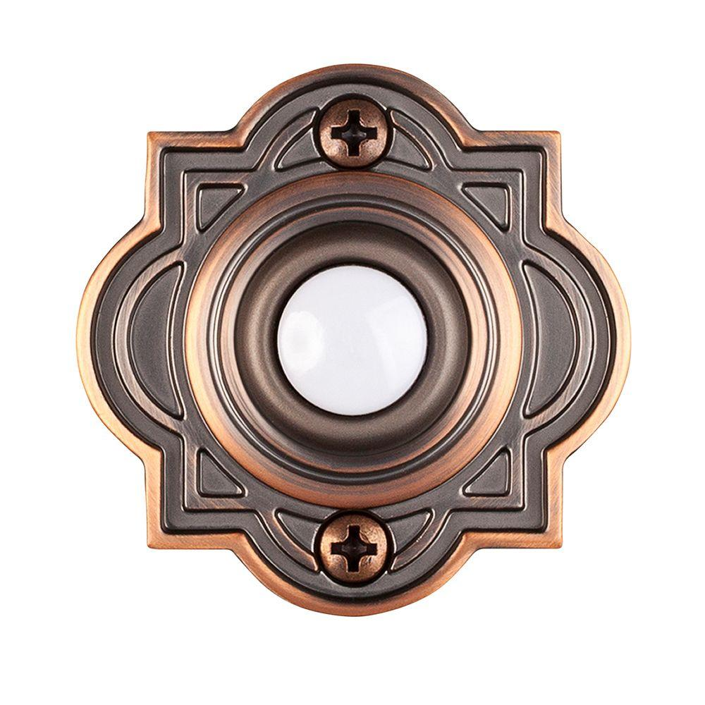 H&ton Bay Wired Lighted Door Bell Push Button Mediterranean Bronze-HB-623-02 - The Home Depot  sc 1 st  Home Depot & Hampton Bay Wired Lighted Door Bell Push Button Mediterranean ...