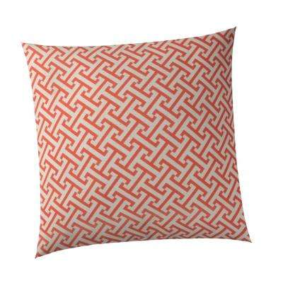 Greek Key Square Outdoor Throw Pillow