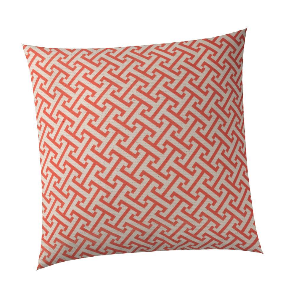 Greek Key Square Outdoor Throw Pillow