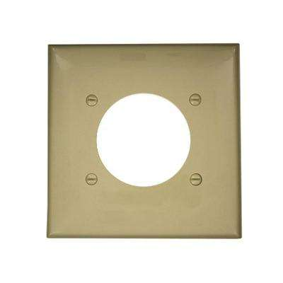 2-Gang Standard Size Nylon Power Outlet Wall Plate with 2.15 in. Dia Hole in Ivory
